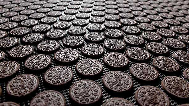 Oreo cookie biscuits spread out on assembly line.