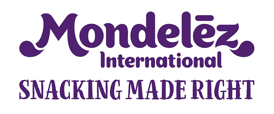Mondelez logo with Snacking Made Right signature