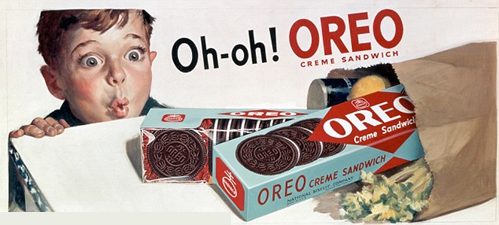 "60's styled ad of a bewildered child leaning on a counter top looking at a spilled bag of groceries that has Oreo creme sandwich boxes falling out. In text: ""Oh-Oh! OREO"""
