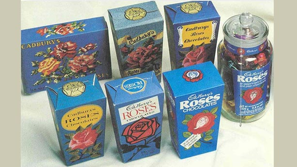 6 Boxes in different styles of Cadbury Roses snack with 1 Jar of cadbury roses.