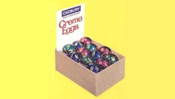 Old style picture from 1971 of a carton of Cadbury creme eggs.