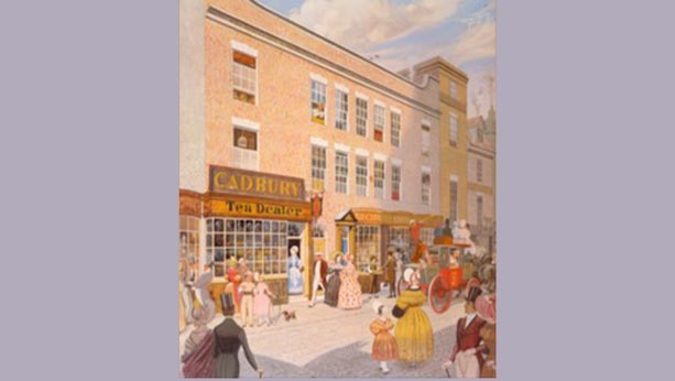 Illustration of Cadbury's first shop from 1824.