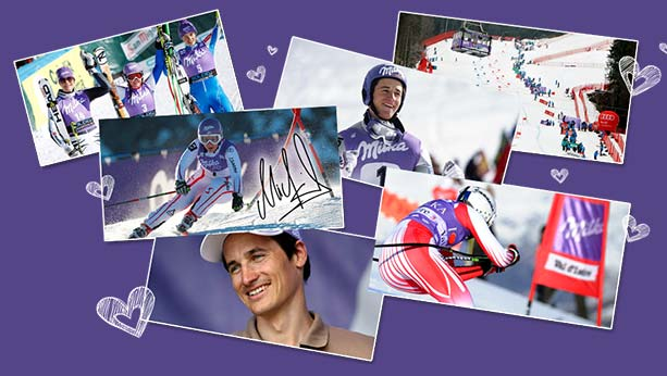 1995 Ski sponsor visual with 6 various pictures showing skier racing and smiling.