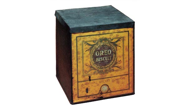 First box of Oreos from 1912. Black box with Gold facing front with Oreo logo.