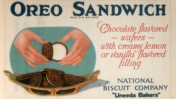 "Oreo sandwich ad from 1923 ""Chocolate flavored wafers with creamy lemon or vanilla flavored filling"""