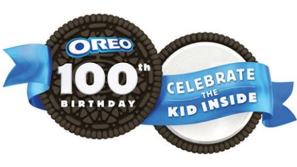 "Oreo's 100th birthday design with an opened Oreo cookie stating ""Celebrate the kid inside"""