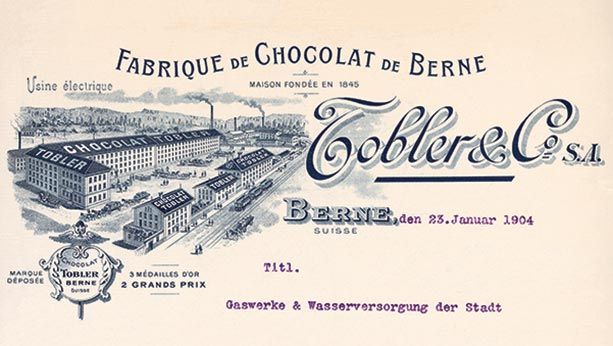 1899 illustration of Toblerone chocolate factory. All black ink written in French.