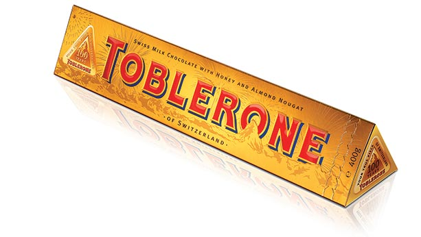 Toblerone package from 2008 featuring a gold packaging theme.