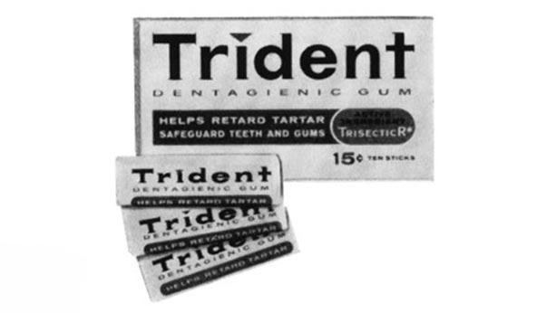 Black and white photo of original trident gum packaging from 1964.