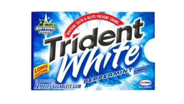 2001 package of trident white gum. blue and white design scheme. Peppermint flavour.