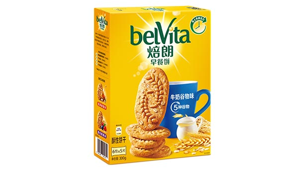 Box of Belvita biscuits in Chinese characters.